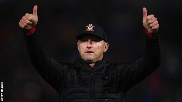 Southampton manager Ralph Hasenhuttl gives fans a thumbs up after defeat by Cardiff
