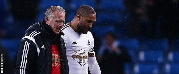 Swansea's former head coach Alan Curtis and Ashley Williams