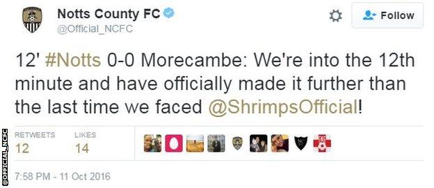 Notts County tweet