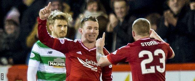Aberdeen's Jonny Hayes celebrates against Celtic