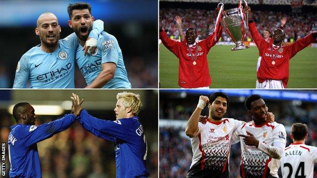 Top left: David Silva and Sergio Aguero. Top right: Andy Cole and Dwight Yorke. Bottom left: Eidur Gudjohnsen and Jimmy Floyd Hasselbaink. Bottom right: Luis Suarez and Daniel Sturridge