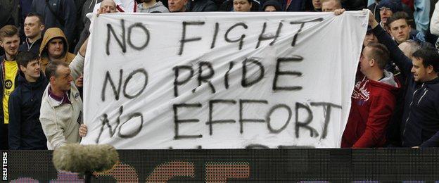 Aston Villa fans hold up a banner
