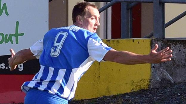 Sammy Morrow turns to celebrate after scoring Coleraine's winning goal against Portadown