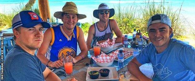 Jordan Spieth, Justin Thomas, Smylie Kaufman and Rickie Fowler on holiday in the Bahamas