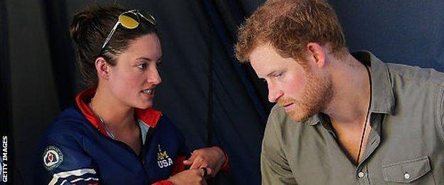 Elizabeth Marks chats to Prince Harry at the 2016 Invictus Games