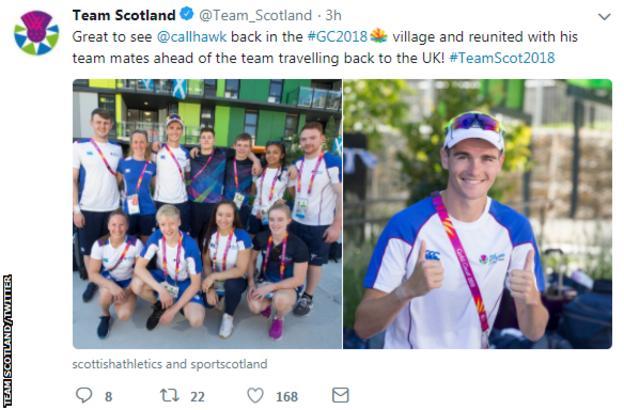 Team Scotland tweet on Callum Hawkins'