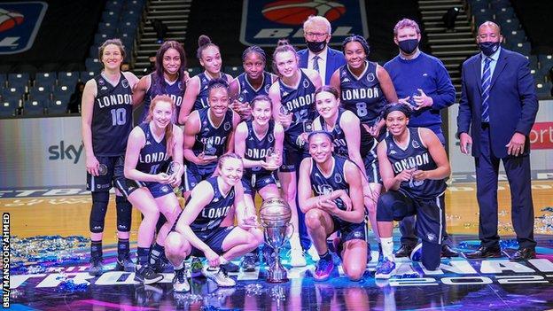 London Lions women with WBBL Trophy