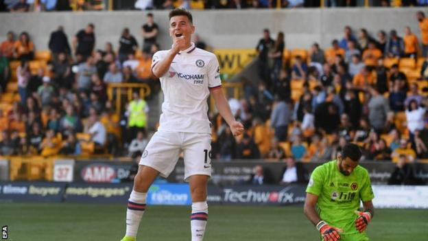 Chelsea's Mason Mount celebrates scoring against Wolves