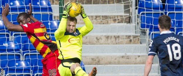 Ross County goalkeeper Scott Fox makes a save