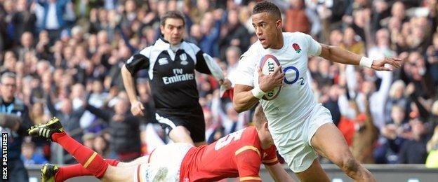 Anthony Watson scores England's first try against Wales