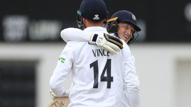James Vince and Tom Alsop both made first-day centuries for Hampshire at Leicester
