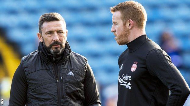 Aberdeen manager Derek McInnes and striker Adam Rooney