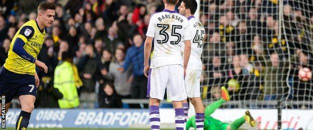 Toni Martinez scores Oxford's third goal against Newcastle