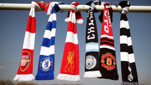 Scarves of the Premier League clubs that signed up for the European Super League