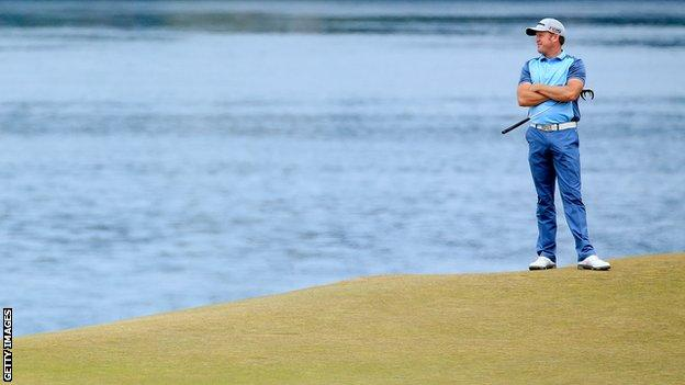 Jamie Donaldson hit three birdies but four bogeys and three double-bogeys in his second round