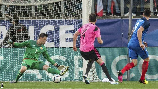 Olivier Giroud scores for France against Scotland