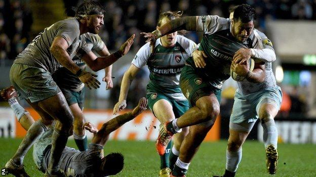 Leicester and England centre Manu Tuilagi made his comeback in the Tigers' 30-27 derby win over Northampton