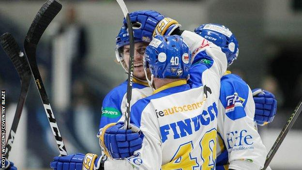 Marcus Basara is hailed by his Fife Flyers team-mates after his goal against Coventry Blaze