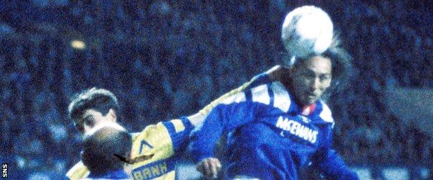Mark Hateley playing for Rangers against Levski Sofia