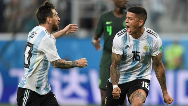 04a77410b0c World Cup 2018  Argentina through after Marcos Rojo s late volley downs  Nigeria 2-1 - BBC Sport