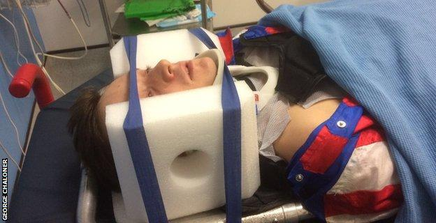 Chaloner in a neck brace after his Wolverhampton fall
