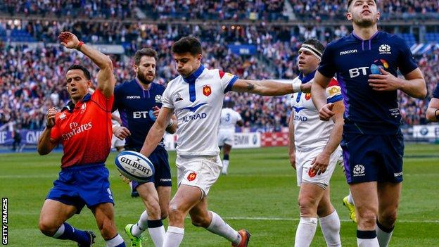 France fly-half Romain Ntamack against Scotland