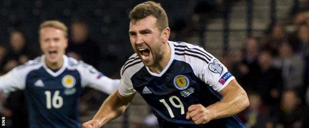 James McArthur celebrates scoring for Scotland
