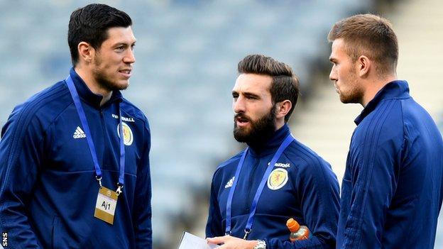 Aberdeen's Scott McKenna, Graeme Shinnie and Mikey Devlin in Scotland colours