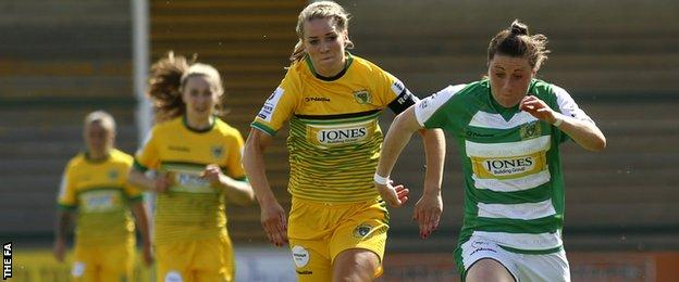 Yeovil's Lucy Quinn (right)
