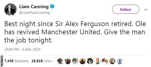 Tweet from Liam Canning saying 'Best night since Sir Alex Ferguson retired'