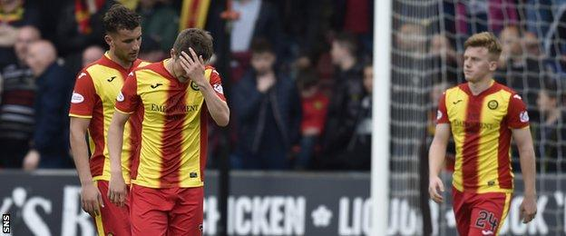 Partick Thistle players during the match with Livingston