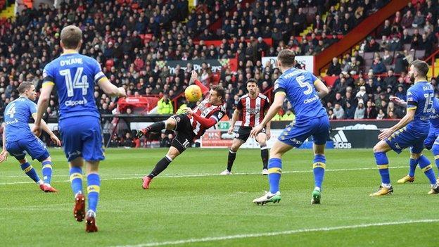 Billy Sharp scores for Sheffield United