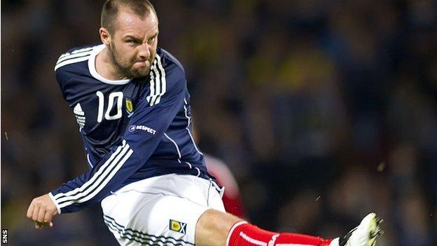 Kris Boyd in action for Scotland against Liechtenstein in 2010