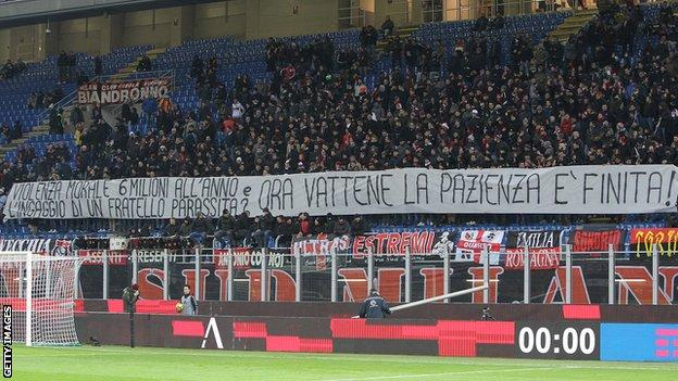"""Fans unfurled a banner saying """"the patience is over"""" at the San Siro on Wednesday"""