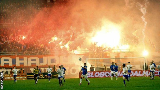 Hajduk Split V Dinamo Zagreb Flares Fires Faith Football At Croatia S Eternal Derby Bbc Sport