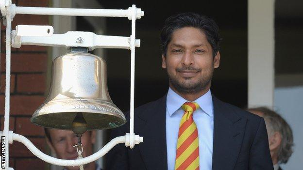 Kumar Sangakkara rings the bell at Lord's