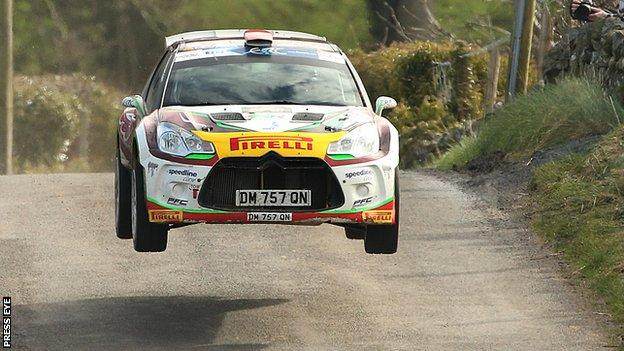 Craig Breen gets airborne on his way to Circuit of Ireland success