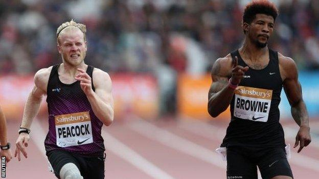 Browne beat Peacock into second at the ipc Anniversary Games in London in July.