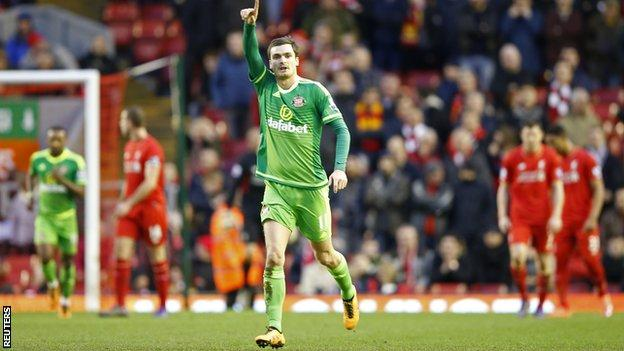Adam Johnson celebrates scoring against Liverpool in February in his last appearance for Sunderland