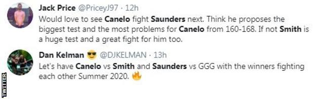 Twitter reaction to Canelo's next opponent