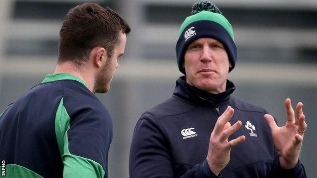 Paul O'Connell speaks to Ireland lock James Ryan at Wednesday's training session