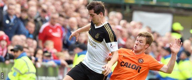 Paul Dixon (right) challenges Aberdeen's Kenny McLean