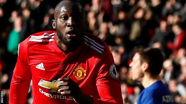 Romelu Lukaku of Manchester United after scoring against Chelsea