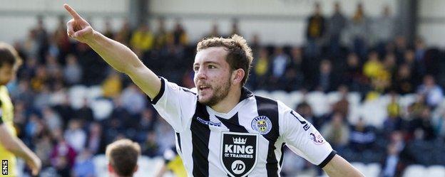 St Mirren's Paul McMullan celebrates