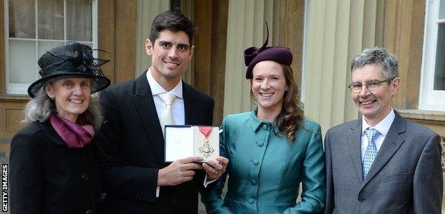 Alastair Cook with wife Alice, father Graham and mother Stephanie after being awarded a CBE by the Prince of Wales in 2017