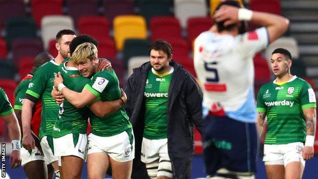 London Irish celebrate their win over Cardiff Blues