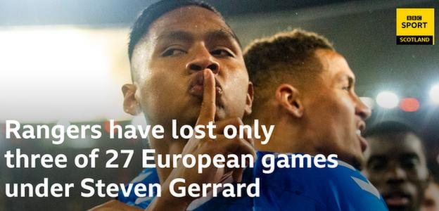 Rangers have lost only three of their 27 European matches under Steven Gerrard