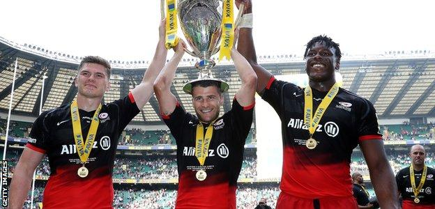Owen Farrell, Richard Wigglesworth and Maro Itoje celebrate Saracens' victory in the 2016 Premiership final