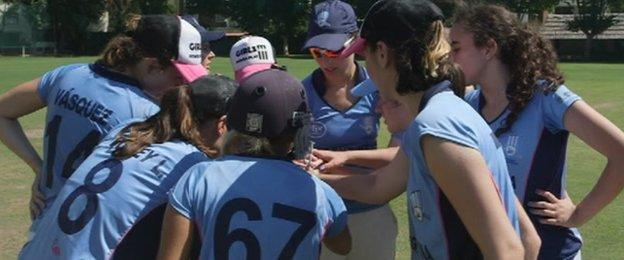 Players have a team talk
