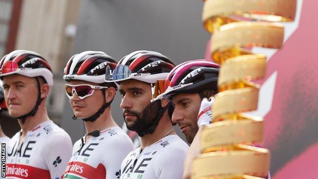 UAE Team-Emirates riders at the Giro d'Italia